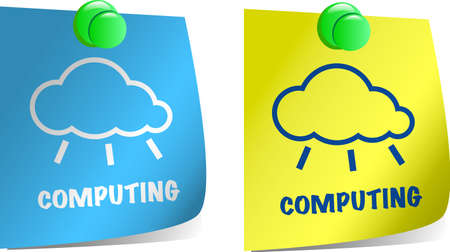 Cloud computing concept. Notepaper with cloud shape and Computing work Vector