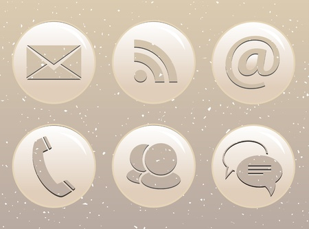 Modern communication glossy web icons on grunge background Vector