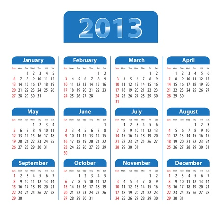 Blue glossy calendar for 2013. Sundays first. Vector illustration  Stock Vector - 14511136