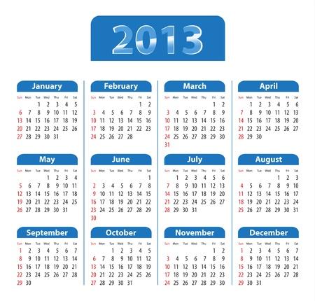 Blue glossy calendar for 2013. Sundays first. Vector illustration Stock Vector - 14511136