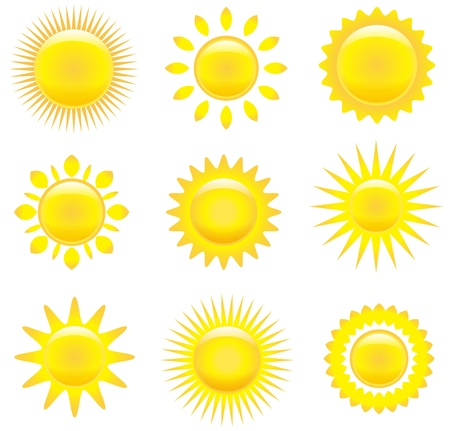 Vector set of yellow nice glossy suns. Vector