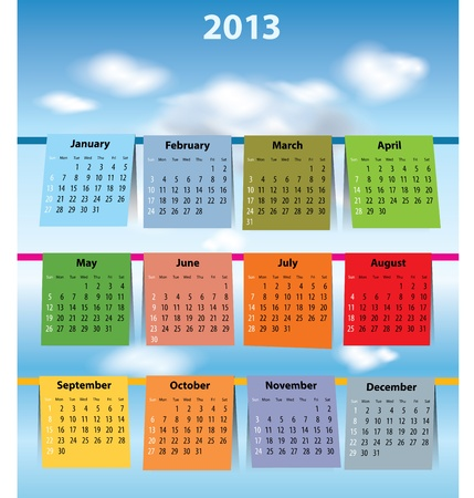 Calendar for 2013 like laundry on the clothline. Sundays first Vector