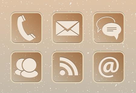 address: Communication web elements on beige grunge background.