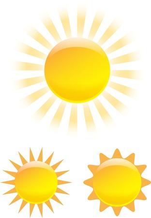 Pěkná sada zářícího slunce obrázků Vektorové ilustrace