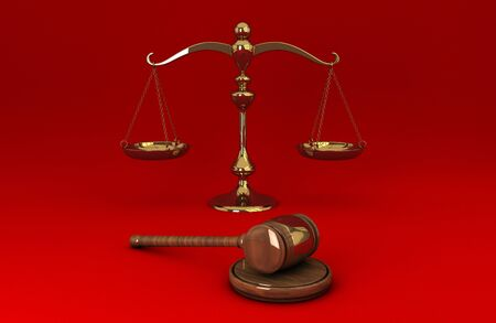 Golden scale and gavel isolated on red solid background photo