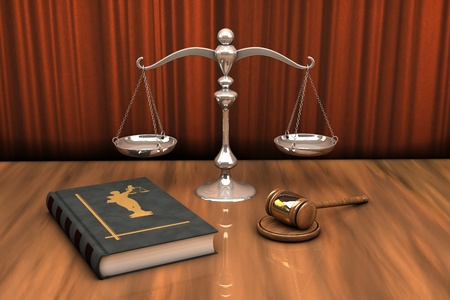 High resolution illustration of attributes of justice: gavel, scale and law book on the table illustration