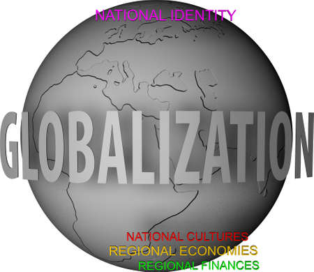 Gray globe with opposition of globalization and national and regional words photo