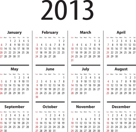 Calendar for 2013. Sundays first