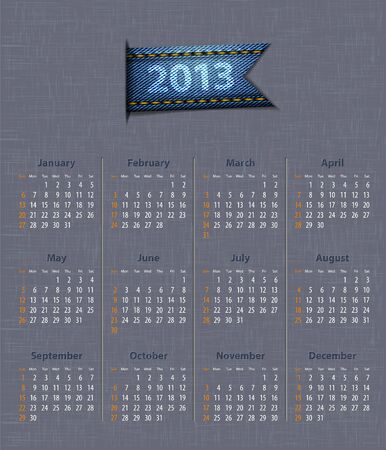 Stylish calendar for 2013 on linen texture with denim insertion.  illustration Vector