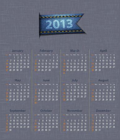 Stylish calendar for 2013 on linen texture with denim insertion.  illustration Stock Vector - 14724873