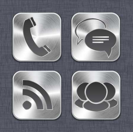 Brushed metal app icon templates on linen background.  illustration Stock Vector - 14724879