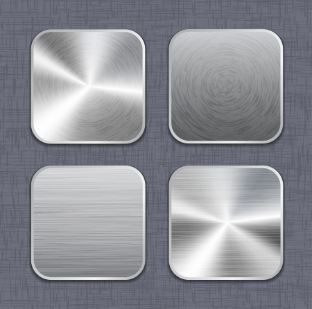 square button: Brushed metal app icon templates on linen background. Vector illustration
