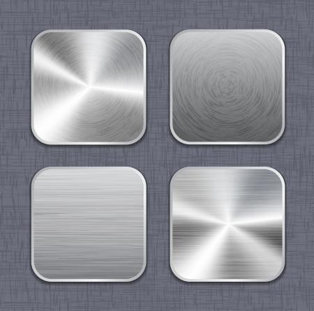 on metal: Cepillado de metal plantillas icono de la aplicaci�n en el fondo de lino. Ilustraci�n vectorial Vectores