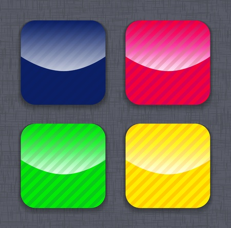 Glossy striped colorful app icon templates on linen background. Vector illustration Vector