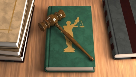 Gavel on a law book with other legal books on the table. Conceptual illustration Stock Illustration - 14805477
