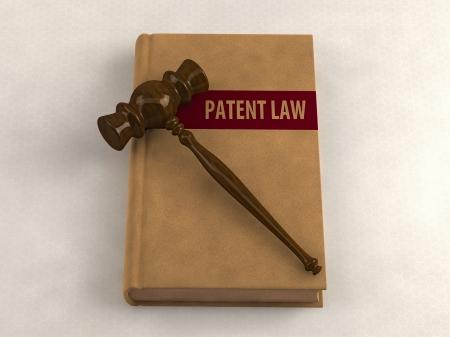 marca libros: Mazo en un libro de la ley de patentes. Ilustraci�n conceptual