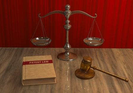 patent leather: Illustration of legal attributes: gavel, scale and patent law book on the table