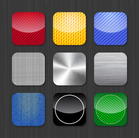 Glossy and metallic app icon templates on a dark background Vector