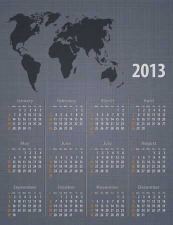 Stylish calendar 2013 world map linen texture. Sundays first. Vector