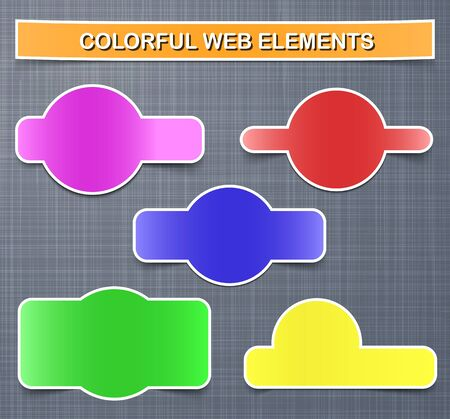 page curl: Colorful web elements with shadows on linen texture background  Vector illustration Illustration