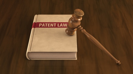 patent leather: Patent law book with gavel on it  Concept illustration
