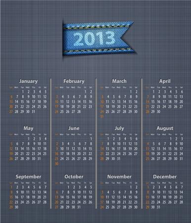 linen texture: Calendario con estilo para 2013 en la textura de lino con inserci�n jeans. Ilustraci�n vectorial Vectores