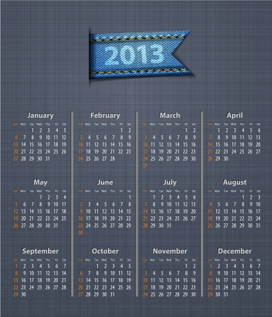 Stylish calendar for 2013 on linen texture with jeans insertion. Vector illustration Vector