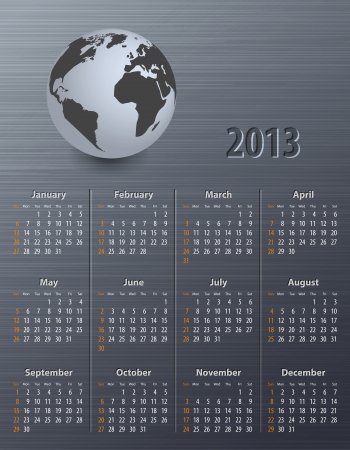 Calendar for 2013 with globe on a brushed metal texture. Sundays first.  Vector