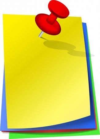 sticky notes: Kleurrijke memoblokjes bevestigd met rode pin Stock Illustratie