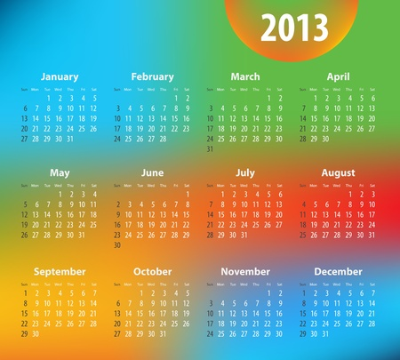 Colorful calendar for 2013 year.  Illustration Stock Vector - 15466096