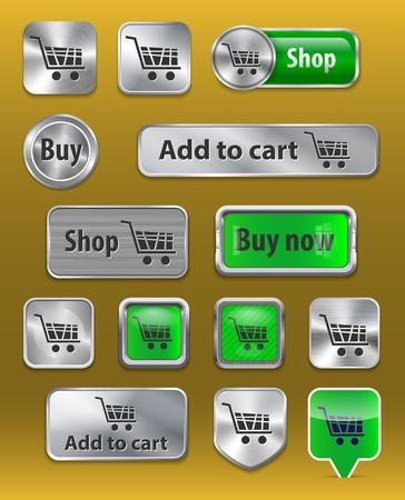 commerce electronique: Ensemble de signes de commerce �lectronique sur brillantes m�talliques et brillant boutons en plastique
