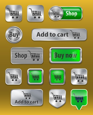 reserve: Set of electronic commerce signs on shiny metallic and glossy plastic buttons Illustration