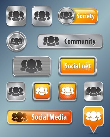 Collection of Social network metallic and glossy elements for web interface illustration Illustration
