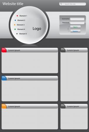 Gray website design template on dark background Stock Vector - 15735082