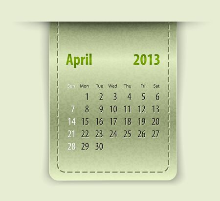inset: Glossy calendar for april 2013 on leather texture