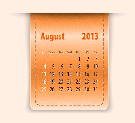 Glossy calendar for august 2013 on leather texture Vector