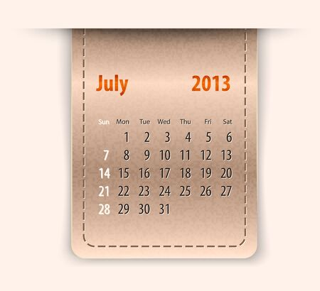 inset: Glossy calendar for july 2013 on leather texture