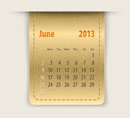 Glossy calendar for june 2013 on leather texture Vector