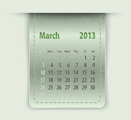 inset: Glossy calendar for march 2013 on leather texture