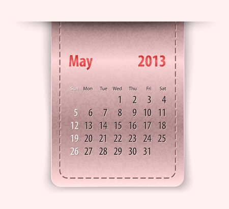 inset: Glossy calendar for may 2013 on leather texture