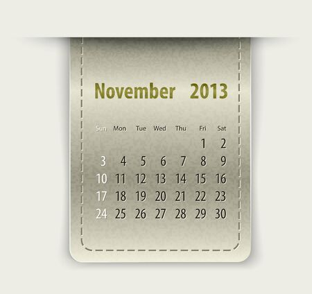 inset: Glossy calendar for november 2013 on leather texture