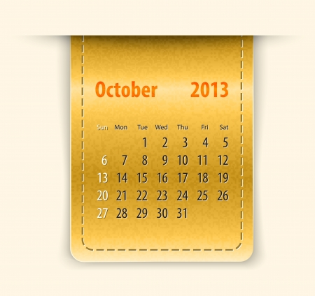 Glossy calendar for october 2013 on leather texture Stock Vector - 15781929