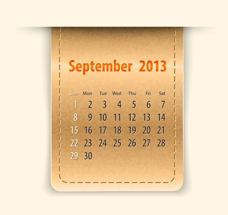 inset: Glossy calendar for september 2013 on leather texture Illustration