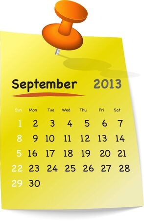 Calendar for september 2013 on yellow sticky note attached with orange pin Vector