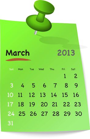 Calendar for march 2013 on green sticky note attached with green pin. Sundays first