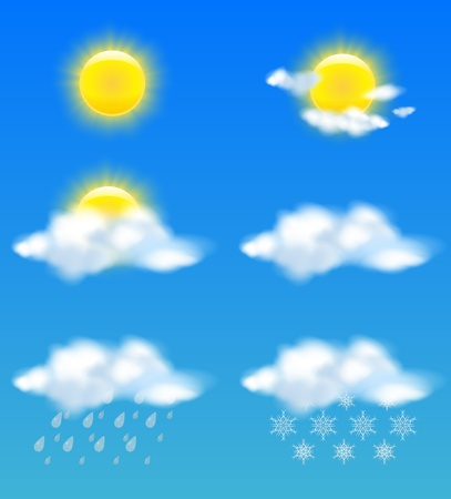 Realistic sun and clouds in weather icons set Vector