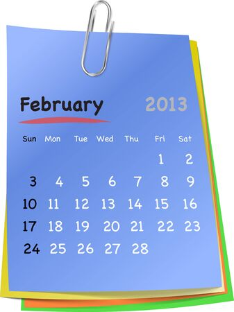 clinch: Calendar for february 2013 on colorful sticky notes attached with metallic clip. Sundays first