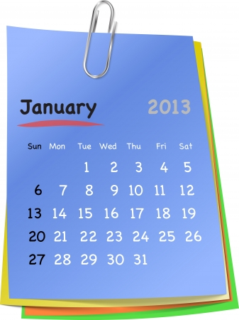 clinch: Calendar for january 2013 on colorful sticky notes attached with metallic clip. Sundays first  Illustration
