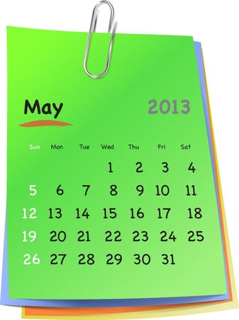 clinch: Calendar for may 2013 on colorful sticky notes attached with metallic clip. Sundays first