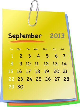 sundays: Calendar for september 2013 on colorful sticky notes attached with metallic clip. Sundays first